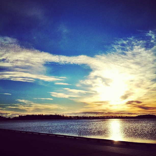Stop and see the sunrise. Castle island, South Boston