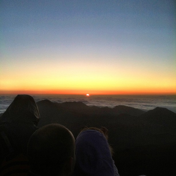 Sunrise over the clouds at Haleakala