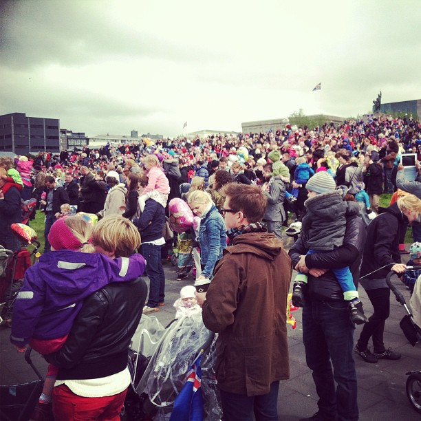 Packed streets of downtown Reykjavik yesterday, with @tinyiceland.
