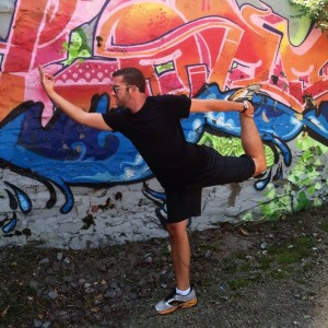 Yet another pose of the day for #letushinethru is #Natarajasana or #DancerPose, featuring some of my favorite local graffiti.