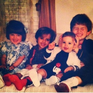 I still smile like that in photos, too. #tbt with cuz James, sis @biancaursillo, and holding bro Dan's head like a maniac
