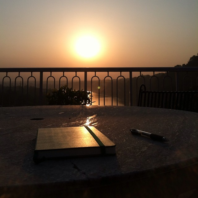A day of poems in India, part 4: writing against the sunset. Sinking into smog. A puppy followed me home. #ADayOfPoems #rishikesh #india #engagesurrendertransform
