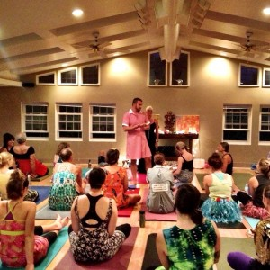 Prepping the yoga troops.