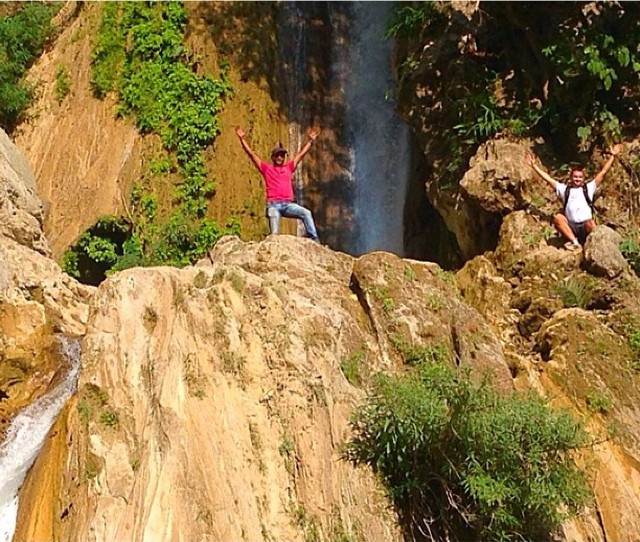 """Steep hike up the Himalayan foothills today, then climbed a rock face with our guide Sahdev to the top of this waterfall. 10 seconds after this picture, he yelled, """"Snake!!!"""" And there was one. #ThingsYouDontWantToHear #EspeciallyInIndia #EspeciallyOnACliff"""